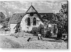 19th Century Sandstone Church In Black And White Acrylic Print