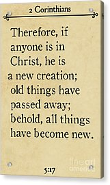2 Corinthians 5 17 - Inspirational Quotes Wall Art Collection Acrylic Print