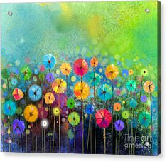 Abstract Floral Watercolor Painting Acrylic Print