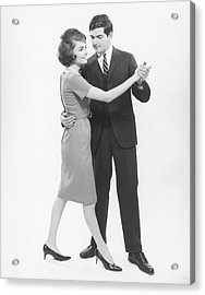 Couple Dancing In Studio, B&w Acrylic Print by George Marks