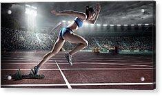 Female Athlete Sprinting Acrylic Print by Dmytro Aksonov