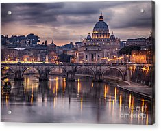 Illuminated Bridge In Rome, Italy Acrylic Print