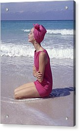Model On The Beach Acrylic Print by Gordon Parks