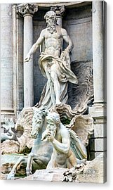 Neptune, Nymphs, Seahorse Statues Acrylic Print by William Perry