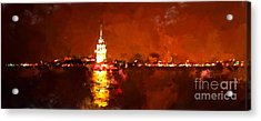 Oil Paint Istanbul View Bosphorus Acrylic Print