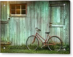 Old Bicycle Leaning Against Grungy Barn Acrylic Print