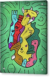 Acrylic Print featuring the digital art Psychedelic Animals by Sotuland Art