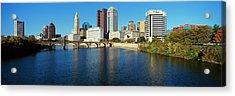 Scioto River And Columbus Ohio Skyline Acrylic Print by Visionsofamerica/joe Sohm