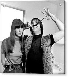 Sonny & Cher Portrait Session Acrylic Print by Michael Ochs Archives