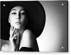 Studio Shot Of Young Beautiful Woman Acrylic Print by Coffeeandmilk
