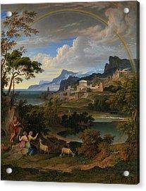 Heroic Landscape With Rainbow. Acrylic Print
