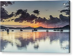 Overcast Morning On The Bay With Boats Acrylic Print
