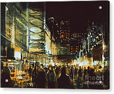 Painting Of Shopping Street City With Acrylic Print