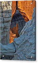 Unique Formations At Sunrise, Coal Acrylic Print by Adam Jones