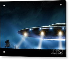 3d Rendering Of Flying Saucer Ufo On Acrylic Print
