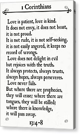 1 Corinthians 13 4-8- Inspirational Quotes Wall Art Collection Acrylic Print