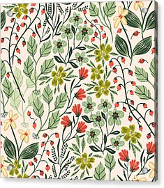 Vector Floral Seamless Pattern With Acrylic Print