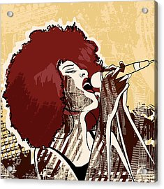 Vector Illustration Of An Afro American Acrylic Print