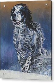 English Setter Winter Snow Acrylic Print