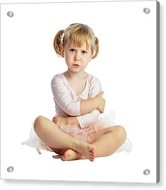 Isolated Female Child With Tutu Acrylic Print by Gualtiero Boffi