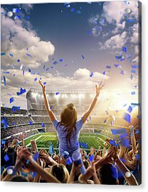American Football Fans At Stadium Acrylic Print by Dmytro Aksonov