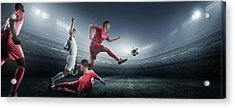 Soccer Player Kicking Ball In Stadium Acrylic Print by Dmytro Aksonov