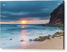 Sunrise Seascape And Cloudy Sky Acrylic Print