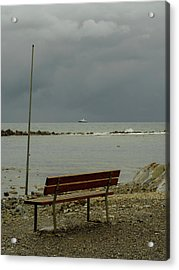 A Bench On Which To Expect, By The Sea Acrylic Print