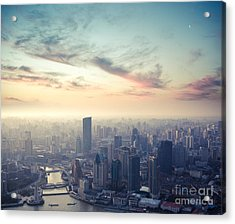 A Birds Eye View Of Shanghai At Dusk Acrylic Print