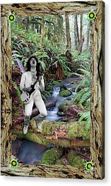 Acrylic Print featuring the photograph A Buck In The Woods In A Redwood Bark Frame by Ben Upham