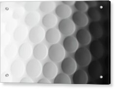 A Close Up Shot Of A Golf Ball, White Acrylic Print