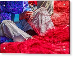 A Closeup To Fishermans Hands Sewing Acrylic Print by Pixinoo