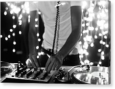 A Cool Male Dj On The Turntables Acrylic Print by Dubassy