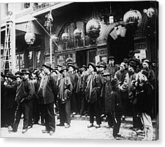 A Crowd Of Men On The Street In Acrylic Print by Fpg