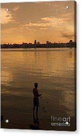 A Cuban Fishing Off The City Of Havana Acrylic Print