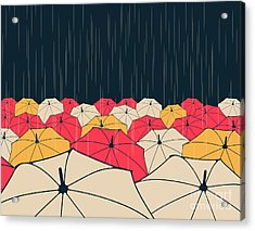 A Field Of Umbrellas Under The Rain, In Acrylic Print