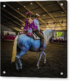 A Girl, A Boy And A Horse Acrylic Print