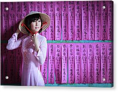 A Girl In A Pink Ao Dai And A Non La Acrylic Print by Jethuynh