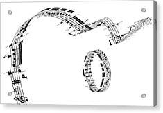 A Guitar Made Of Music Notes Acrylic Print by Ian Mckinnell