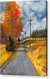Acrylic Print featuring the painting A Happy Autumn Day by Katherine Miller