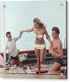 A Helping Hand Acrylic Print by Slim Aarons