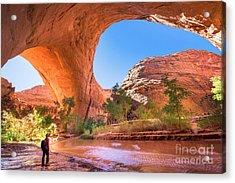 A Hiker At Jacob Hamblin Arch In Coyote Acrylic Print