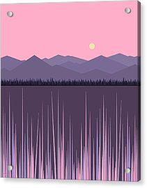 A Lake In The Mountains -  Pink Sky Acrylic Print