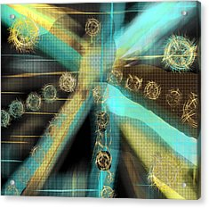 A Light Beams In Gold Brown And Blue Acrylic Print