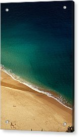 A Lone Sunbather Stretches Out On The Acrylic Print