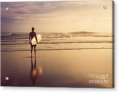 A Man Is Standing With A Surf In His Acrylic Print