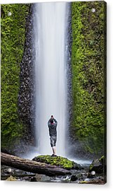A Man Photographing A Waterfall Acrylic Print