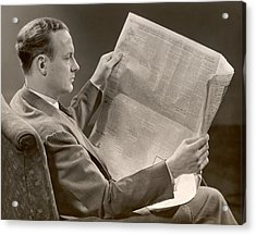 A Man Reads A Newspaper Acrylic Print by George Marks