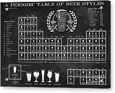 A Periodic Table Of Beer Styles Acrylic Print by Christopher Williams
