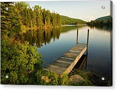 A Small Dock In Long Pond In White Acrylic Print by Danita Delimont